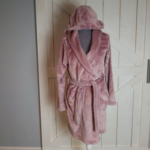 UGG pink plush soft robe pockets LOGO small + belt